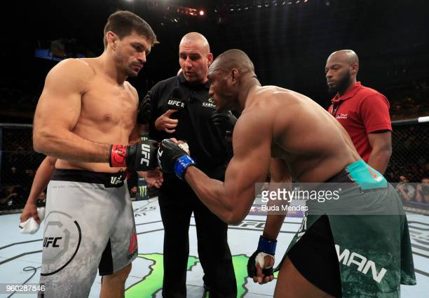 Demian Maia of Brazil and Kamaru Usman of Nigeria face off prior to their welterweight bout during the UFC Fight Night event at Movistar Arena on May...