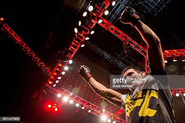 Demian Maia of Brazil celebrates after defeating Matt Brown of the United States in their welterweight bout during the UFC 198 at Arena da Baixada...