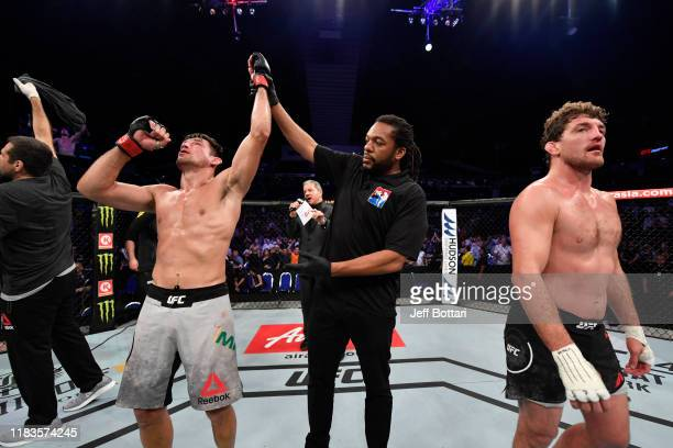 Demian Maia of Brazil celebrates his victory over Ben Askren in their welterweight bout during the UFC Fight Night event at Singapore Indoor Stadium...