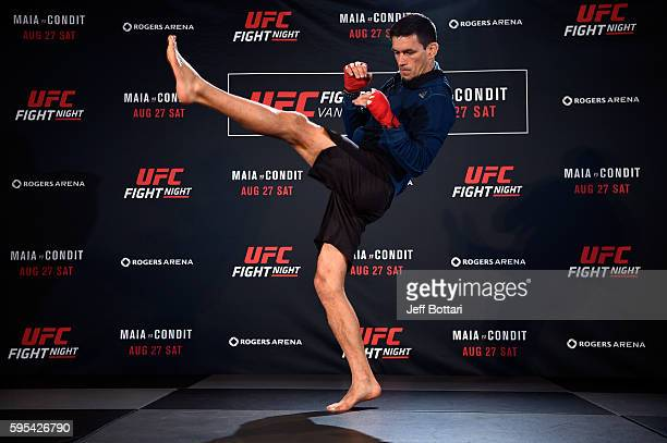 Demian Maia of Brazil holds an open workout session for media and fans at the Hyatt Regency Vancouver on August 25 2016 in Vancouver Canada