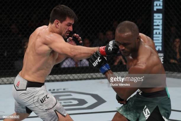 Demian Maia of Brazil punches Kamaru Usman of Nigeria in their welterweight bout during the UFC Fight Night event at Movistar Arena on May 19 2018 in...