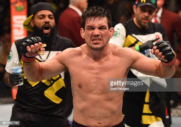 Demian Maia of Brazil reacts to his victory over Gunnar Nelson of Iceland in their welterweight bout during the UFC 194 event inside MGM Grand Garden...