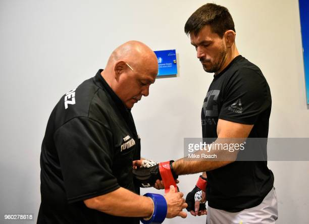 Demian Maia of Brazil straps on his gloves prior to his bout against Kamaru Usman during the UFC Fight Night event at Movistar Arena on May 19 2018...