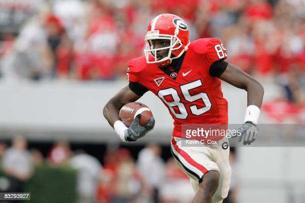 Demiko Goodman of the Georgia Bulldogs carries the ball during the game against the Tennessee Volunteers at Sanford Stadium on October 11 2008 in...