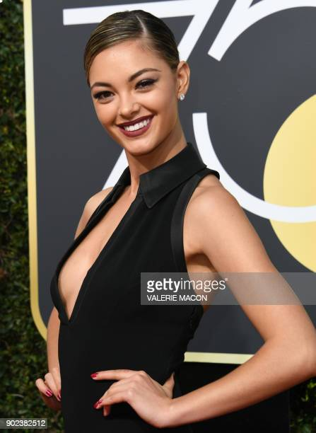 DemiLeigh NelPeters arrives for the 75th Golden Globe Awards on January 7 in Beverly Hills California / AFP PHOTO / VALERIE MACON