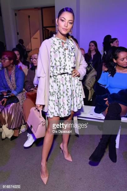 DemiLeigh NelPeters attends the Dan Liu fashion show during New York Fashion Week The Shows at Gallery II at Spring Studios on February 10 2018 in...