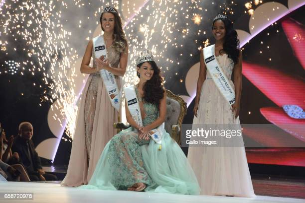 DemiLeigh NelPeters was crowned as Miss South Africa 2017 Miss SA 2016 Ntandoyenkosi Kunene Boipelo Mabe and Adè van Heerden during the crowning of...