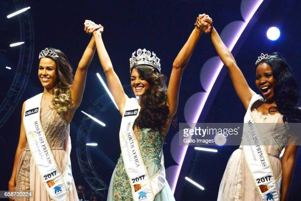 DemiLeigh NelPeters was crowned as Miss South Africa 2017 with her are Boipelo Mabe and Adè van Heerden during the crowning of Miss SA 2017 beauty...
