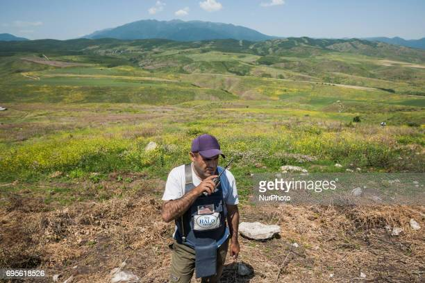 Deminers team coordinator of HALO Trust organisation in the hills of Nagorno Karabakh, on 13 June 2017. Mines still remain after 25 years since the...