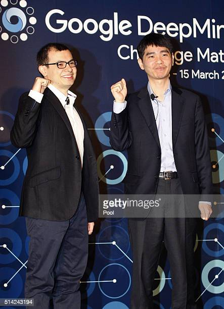 Demis Hassabis CEO of Google's artificial intelligence startup DeepMind and South Korean professional Go player Lee Sedol attend the press conference...