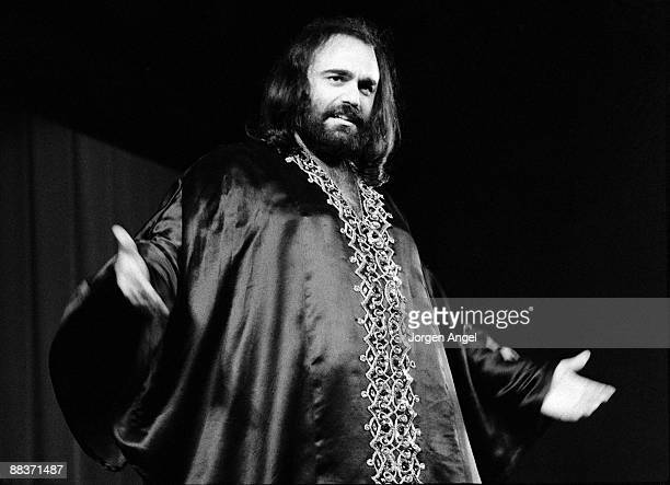Demis Roussos performs on stage in January 1974 in Copenhagen, Denmark.