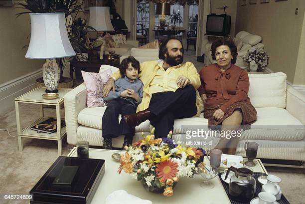 Demis Roussos Singer Greecewith his mother Olga and his son in Cyrill in his house in London