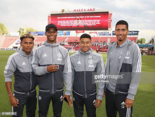Demitri Mitchell Marcus Rashford Jesse Lingard and Chris Smalling of Manchester United pose ahead of the preseason friendly match between Real Salt...