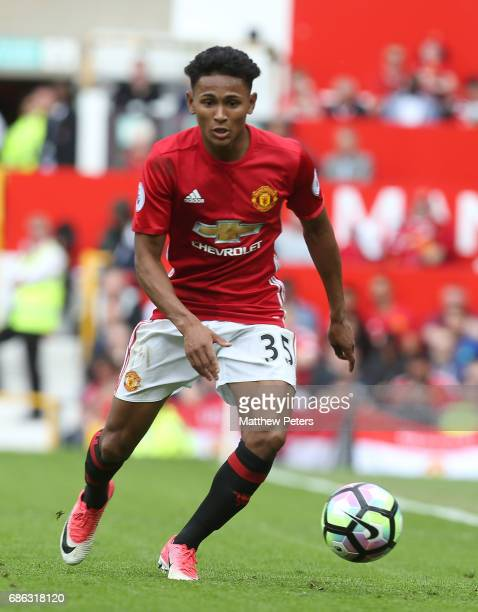 Demitri Mitchell of Manchester United in action during the Premier League match between Manchester United and Crystal Palace at Old Trafford on May...