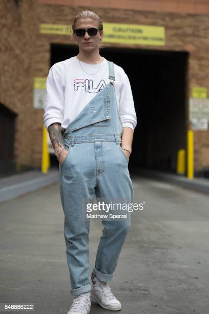 Demitri Verona is seen attending Marchesa during New York Fashion Week wearing Fila on September 13 2017 in New York City