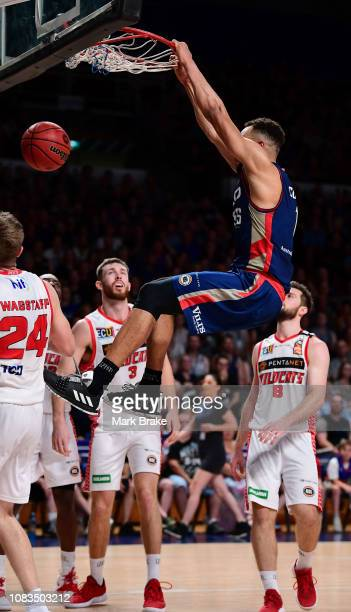 Demitrius Conger of the Adelaide 36ers slam dunks during the round 14 NBL match between the Adelaide 36ers and the Perth Wildcats at Titanium...