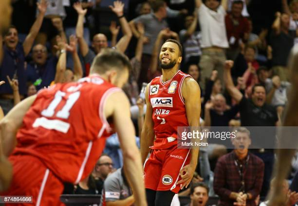 Demitrius Conger of the Hawks celebrates a three pointer during the round seven NBL match between the Illawarra Hawks and the Sydney Kings at...
