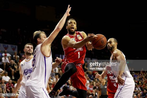Demitrius Conger of the Hawks drives to the basket during the round four NBL match between the Illawarra Hawks and the Sydney Kings at Wollongong...