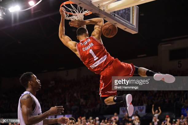 Demitrius Conger of the Hawks dunks during the round 13 NBL match between the Illawarra Hawks and Melbourne United at Wollongong Entertainment Centre...