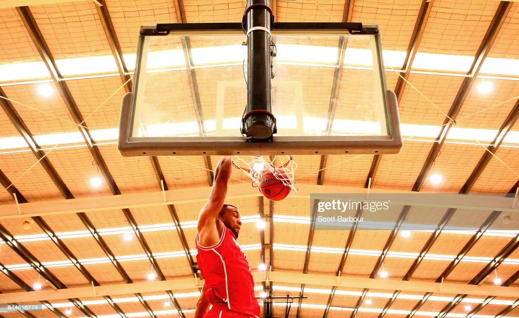 Demitrius Conger of the Hawks dunks the ball during the 2017 NBL Blitz pre-season match between the Cairns Taipans and the Illawarra Hawks at Traralgon Basketball Centre on September 9, 2017 in Traralgon, Australia.