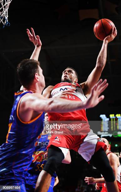 Demitrius Conger of the Illawarra Hawks during the round 15 NBL match between the Adelaide 36ers and the Illawarra Hawks at Titanium Security Arena...