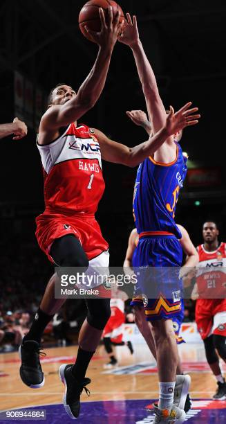 Demitrius Conger of the Illawarra Hawks lays up during the round 15 NBL match between the Adelaide 36ers and the Illawarra Hawks at Titanium Security...