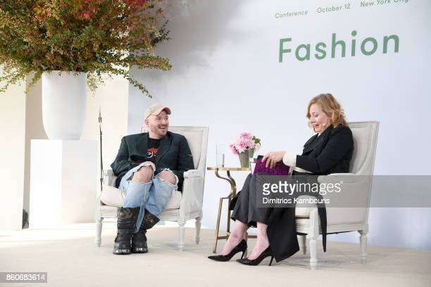 Demna Gvasalia and Sarah Mower speak onstage during Vogue's Forces of Fashion Conference at Milk Studios on October 12, 2017 in New York City.