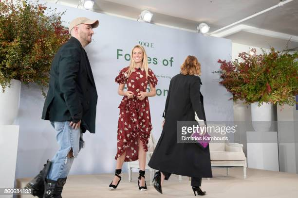 Demna Gvasalia, Selby Drummond and Sarah Mower speak onstage during Vogue's Forces of Fashion Conference at Milk Studios on October 12, 2017 in New...
