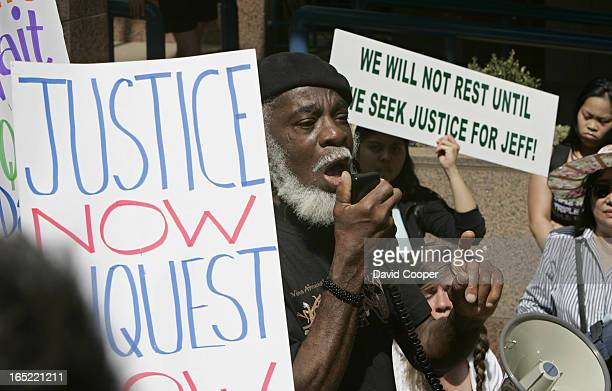 Demo march from City Hall to Coroner's Court to protest the lack of an inquest into the Police shooting death of Jeffrey Reodica His brother Joel...