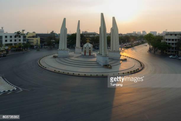 Democracy monument during sunset time,Bangkok Thailand