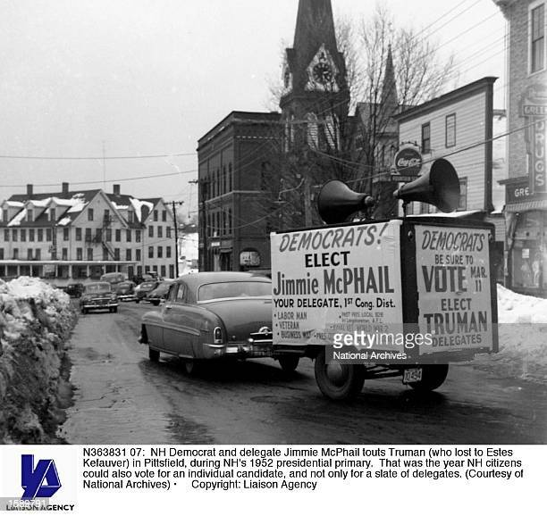 Democrat and delegate Jimmie McPhail touts Truman in Pittsfield during NH's 1952 presidential primary That was the year NH citizens could also vote...
