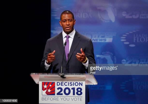 Democrat Andrew Gillum makes a point during his debate with Republican Ron DeSantis at Broward College October 24 2018 in Davie Florida The second...