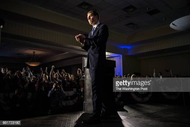 Democrat candidate Conor Lamb gives his victory speech after midnight at the Hilton Garden Inn PittsburghSouthpointe after winning the Pennsylvania's...