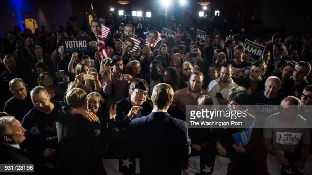 Democrat candidate Conor Lamb greets his supporters after giving his victory speech at the Hilton Garden Inn PittsburghSouthpointe after winning the...