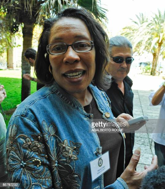 US Democrat congresswoman Marcia Fudge member of the Congressional Black Caucus speaks to the press on April 3 in Havana upon her arrival at a hotel...