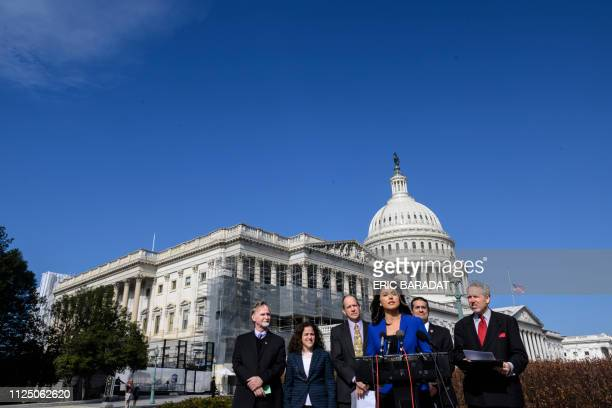 Democrat Congresswoman Tulsi Gabbard from Hawaii an official candidate for the Democratic Primaries of the 2020 US Presidential election gives a...