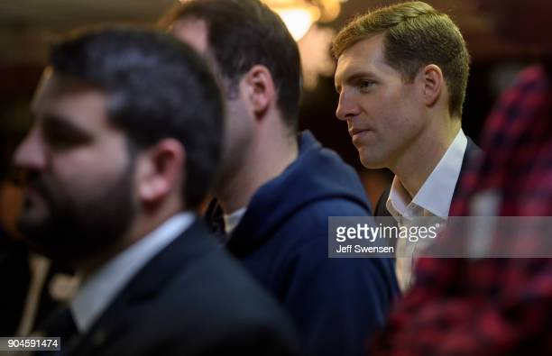 Democrat Conor Lamb a former US attorney and US Marine Corps veteran running to represent Pennsylvania's 18th congressional district before a speech...