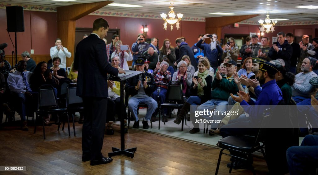 Democrat Conor Lamb, a former U.S. attorney and US Marine Corps veteran running to represent Pennsylvania's 18th congressional district, speaks to an audience at the American Legion Post 902 on January 13, 2018 in Houston, Pennsylvania in the southwestern corner of the state. President Donald Trump plans to visit Pennsylvania's 18th Congressional District next week in a bid to help Lamb's republican opponent, Rick Saccone.