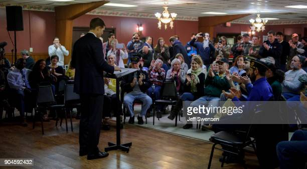 Democrat Conor Lamb a former US attorney and US Marine Corps veteran running to represent Pennsylvania's 18th congressional district speaks to an...