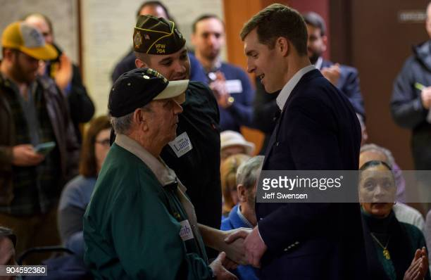 Democrat Conor Lamb a former US attorney and US Marine Corps veterans running to represent Pennsylvania's 18th congressional district speaks to an...