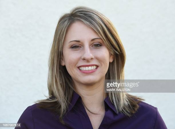 Democrat Katie Hill who is running for Congress in California's 25th District, at a campaign rally before the mid-term elections in Santa Clarita,...