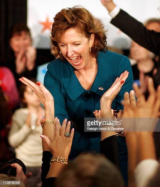 Democrat Kay Hagan celebrates winning a US Senate seat for North Carolina in a race against Elizabeth Dole at the Greensboro Coliseum on Tuesday...