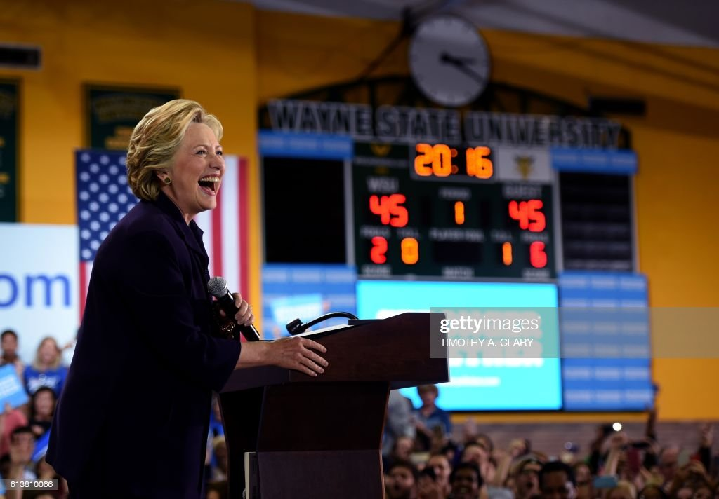 Democrat nominee Hillary Clinton speaks to a rally at Wayne State University in Detroit, Michigan October 10, 2016. /
