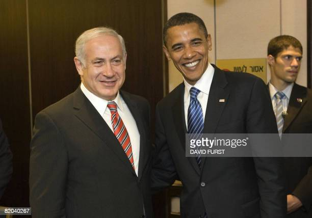 Democrat presidential candidate Barack Obama meets with Israeli opposition leader and former prime minister Benjamin Netanyahu at the King David...