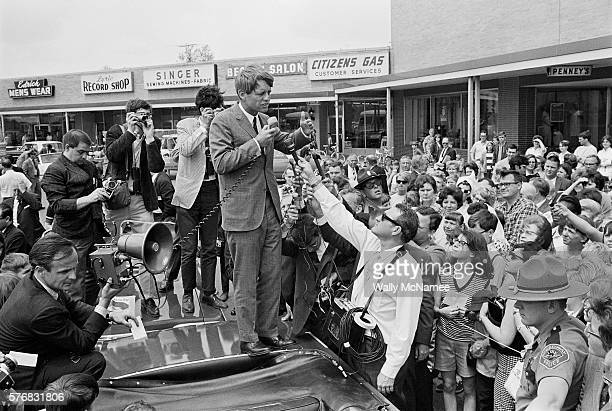 Democrat presidential candidate Bobby Kennedy speaks to a crowd of his supporters during a campaign stop