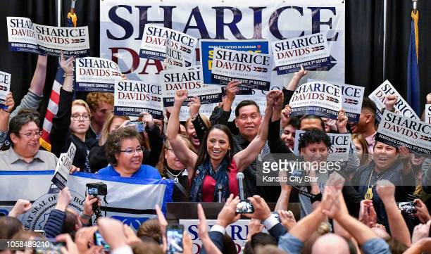 Democrat Sharice Davids gives her victory speech after winning the state's 3rd congressional district race on Tuesday Nov 6 at her watch party in...