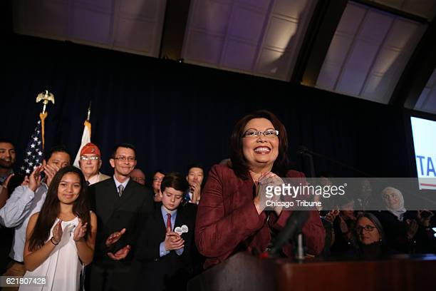 Democrat Tammy Duckworth candidate for the US Senate declares victory in her bid to unseat Republican Senator Mark Kirk at the JW Marriott Tuesday...