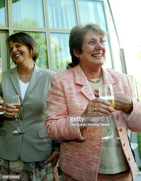 Democrates leader Lyn Allison hosts drinks with other senators and MPs after the RU486 bill had been passed. Senator Judith Troeth and Lyn Allison...