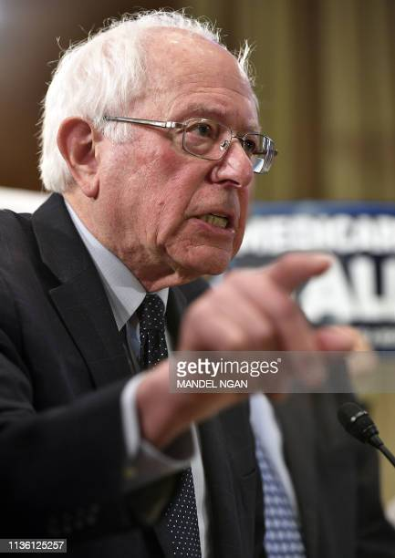Democratic 2020 presidential hopeful Sen Bernie Sanders speaks during a Medicare For All event in the Dirksen Senate Office Building on April 10 2019...