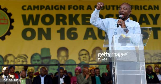Democratic Alliance leader Mmusi Maimane addresses the audience during an event to commemorate the sixth anniversary of the Marikana massacre on...
